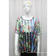 Damenmode Blume gedruckt Polyester Gestrickte Hohl T-Shirt (YKY2207)