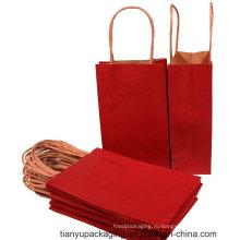 Красный цвет на заказ бумажный пакет с витой ручкой