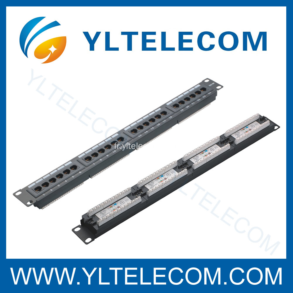 1U 19 pouces 24port(4*6) type de Patch Panel CAT 5e et Cat.6