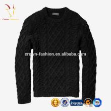 Großhandel Kabel gestrickte Pullover Männer 100% reine Kaschmir Strickwaren