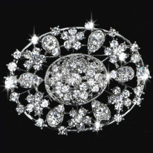 New Cheap Fashion Flower oval shape Brooch Colorful Rhinestone Women Brooch For Wedding wholesale