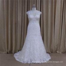 5665 haute qualité pleine dentelle sans manches robe de mariée élégante 2016