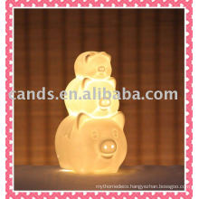 Lovely 3 Pig Ceramic Decorative Lighting Lamp