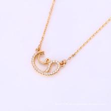 Moda Elegante CZ Cristal Rose Gold Cor Pingente de Jóias Colar -41820