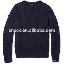 15JWT0117 hommes pull en tricot de câble en cachemire de coton
