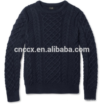15JWT0117 men cotton cashmere cable knit sweater