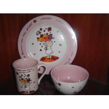 Keramik Kinder Frühstück Set Schüssel Teller und Becher