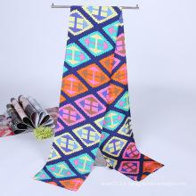 Lady Fashion Printed Satin Silk Magic Mutifunctional Cravat Scarf (YKY1091-13)
