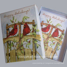20 cartões e envelopes do feriado Cartões do feriado do cumprimento com caixa de empacotamento
