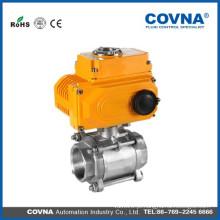 Válvula elétrica com 3 peças de aço inoxidável para HVAC, sistema de compressão de ar