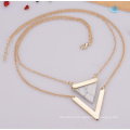 Triangle Turquoise V Shape Double Multilayer Clavicular Necklace