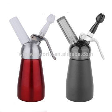 Customized 1/4 Litre Red Color Aluminum Whipped Cream Dispenser With Metal or Plastic Top