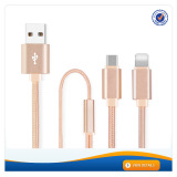 AWD204 2017 High quality 2 in 1 usb cable charger cable for iphone