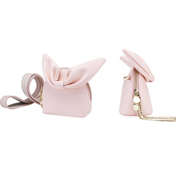 Knotted rabbit ear widened shoulder strap shell bag