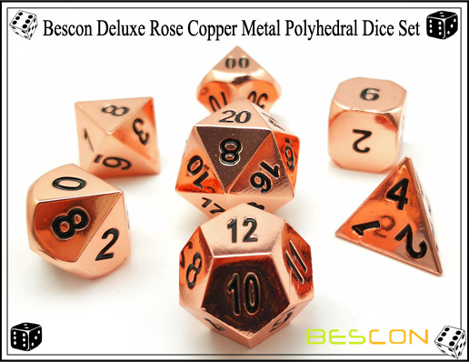 Bescon Deluxe Rose Copper Metal Polyhedral Dice Set-5