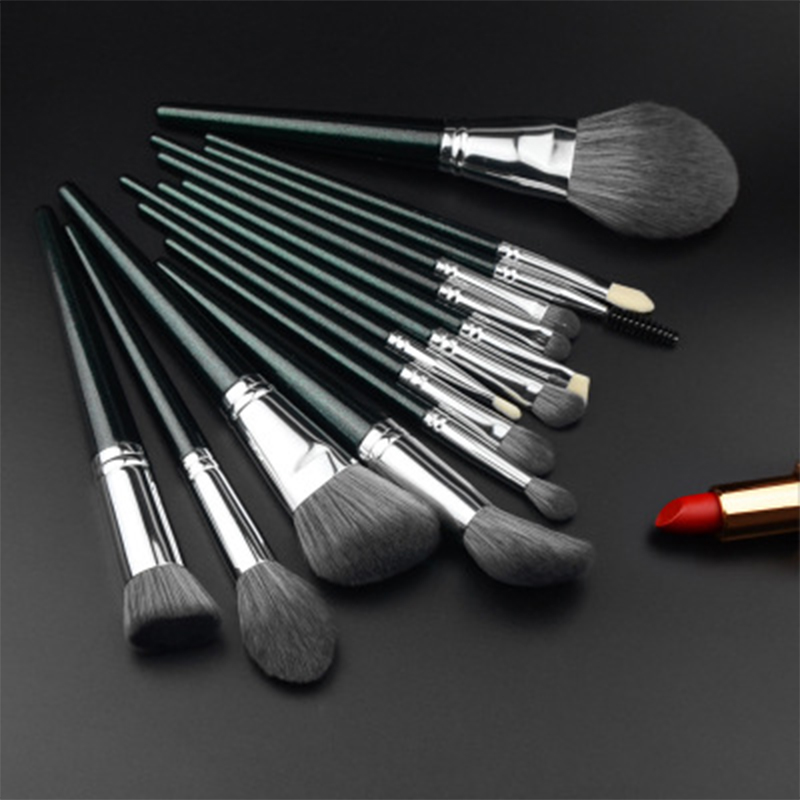 makeup brush set with leather bag
