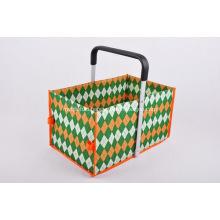 Custom Tweed Folding Shopping Basket - Single Handle