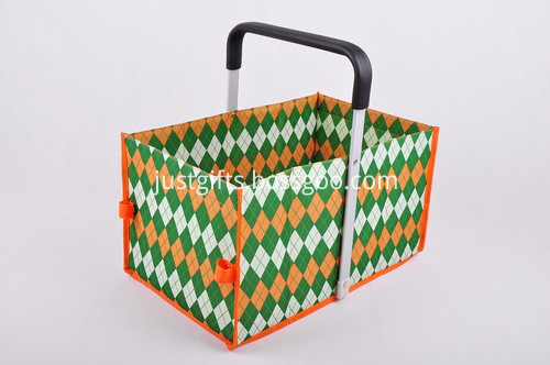 Custom Tweed Folding Shopping Basket - Single Handle (4)
