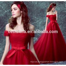 Cestbella TS1132 Elegante vestidos de noche de la vendimia con las mangas del casquillo Rojo Lace los vestidos de bola formales vestido largo 2017