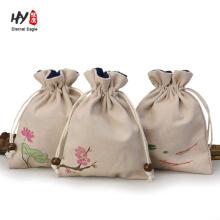 sac de cadeau de lin de style chinois personnalisé en gros