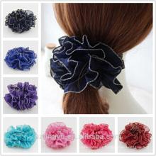 Las niñas elásticos de la gasa al por mayor de encargo flor accesorios para el cabello scrunchie