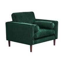 Hot Selling Luxury Home Furniture Leisure Divano Modern Sleeper Green Velvet Single Couch