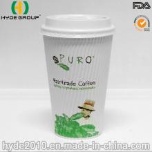 Copa de papel caliente de la pared disponible de la ondulación con la cubierta de la tapa