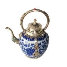 Porzellan Teekanne Silber Griff