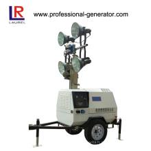 Générateur mobile à LED 2.1 / 2.3kVA Tour d'éclairage, Tour de lumière à la remorque diesel