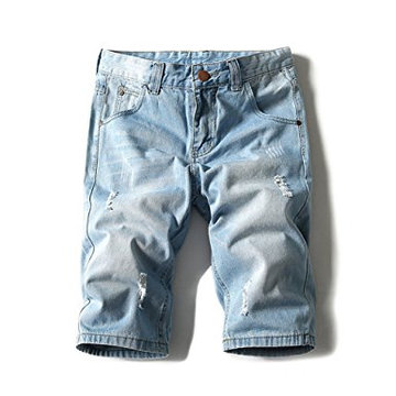 Shorts de jeans leve de peso masculino Denim Brush curto