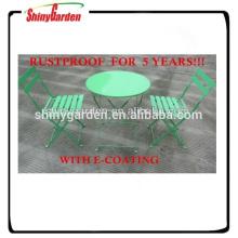 sistema plegable al por mayor del bistro del jardín de la silla de acero plegable del metal