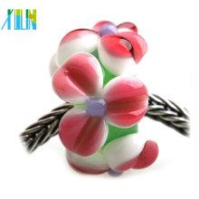 DIY murano bracelet making pave flower petal 925 lampwork glass beads