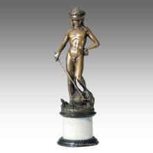 Estatua de la figura clásica Escultura joven David Bronce TPE-107