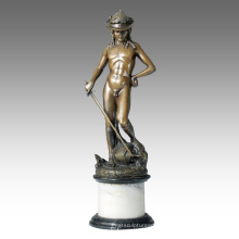 Classical Figure Statue Young David Bronze Sculpture TPE-107