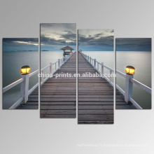 Bridge on Sea Pictures Print / Seascape Canvas Artwork Wall Decor / Peaceful Ocean Canvas Painting