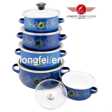 5PCS High Quality Enamel Steel Cookware Set