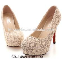 lace design upper heel shoe for 2015 summer