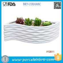 Modern White Ceramic Leaf Shape Design Flower Container