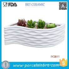 Recipiente de flor de Design moderno em forma de folha de cerâmica branca