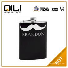 18/8 FDA 8oz Personalized Hip Flask with Mustache
