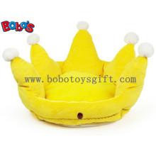 Cor Amarelo Plush Rei Estilo Crown Pet Cama Puppy Dog Sofá Bosw1096 / 47X32m