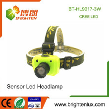 Factory Wholesale ABS and Aluminum 3 Mode Light XPE R3 3W LED Sensor High Power Zoom Cree Headlamp with 3*aaa battery