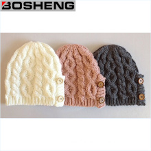 Write/Gray/Pink Winter Button Decoration Beanie Knit Cap