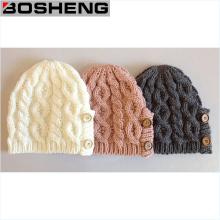 Escrever / Gray / Pink Winter Button Decoração Beanie Knit Cap