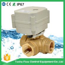 Controle elétrico do fluxo de 3 maneiras Válvula de esfera de água de bronze Ce / válvula de fechamento motorizada de RoHS com operação manual