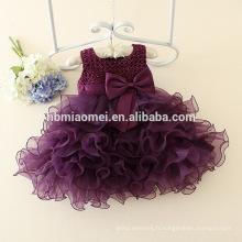 Corée style violet couleur à plusieurs niveaux robe fille partie occidentale porter belle robe de princesse perlée fille