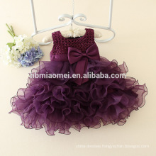 Korea style purple color tiered girl dress western party wear lovely beaded girl princess dress
