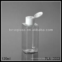 Botella de 120 ml para mascotas, botella de plástico cuadrada transparente con tapa abatible
