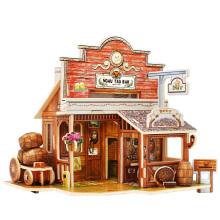 Juguete de coleccionables de madera para casas globales-American Bar