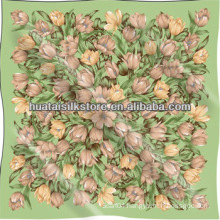Flower Pattern Big Square Chiffon Silk Scarf